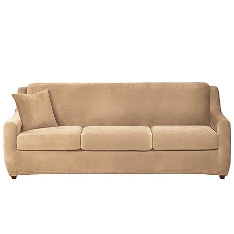 Amazon Com Sure Fit Stretch Pique 3 Seat Sleeper Sofa Slipcover
