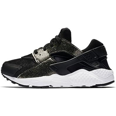 Nike Girl's Huarache Run SE Running Shoe, Black/Black-Metallic Gold-White