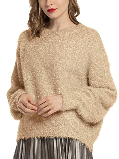 Buy MessBebe Women's Sequin Glitter Sweater Festive Pullover