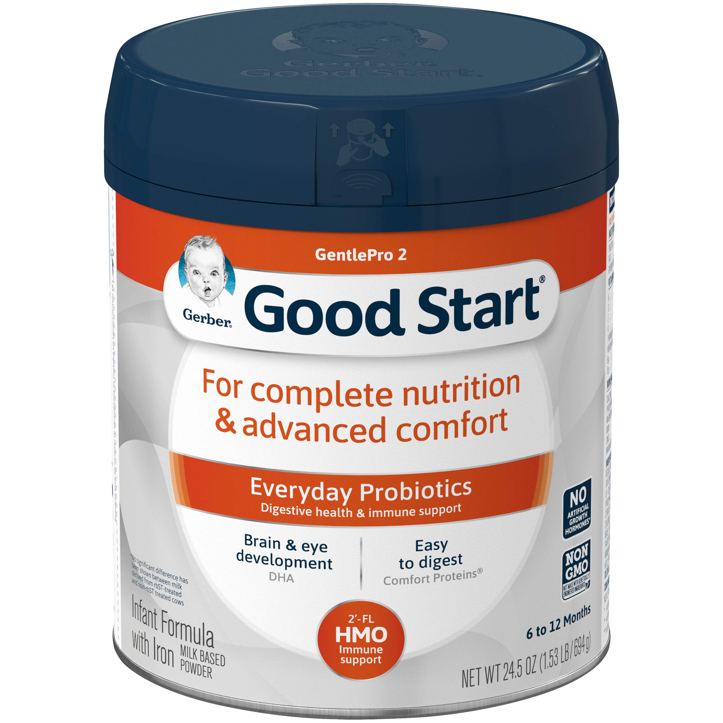 Gerber Good Start Gentle (HMO) Non-GMO Powder Infant Formula, Stage 2, 24.5 Ounces (Pack of 4) by Gerber (Image #1)