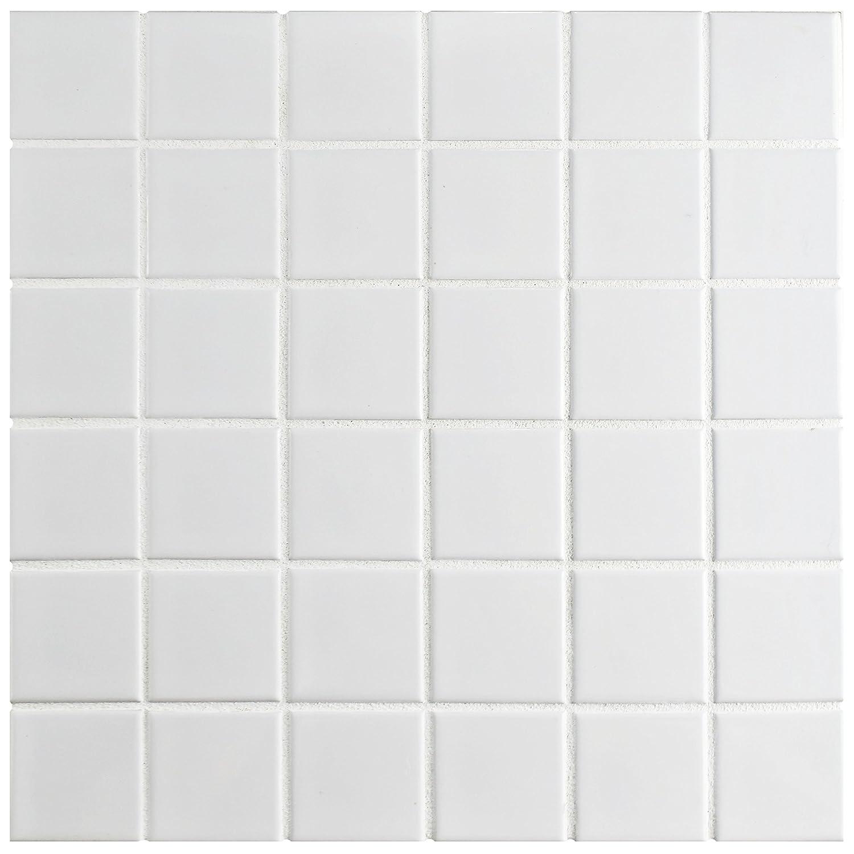 SomerTile FXLM2SMW Retro Square Porcelain Floor and Wall Tile Matte White 12.25 x 12.25