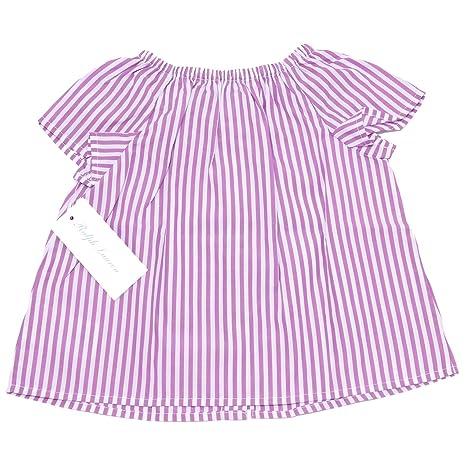 Ralph 0571x Bimba Girl Shirt Maglia Top Cotton T Lauren Purplewhite zVqSMpU