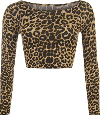 1482eabbd25 Womens Aztec Animal Print Crop Top Ladies Leopard Long Sleeve Short - Sizes  8-14: Amazon.co.uk: Clothing