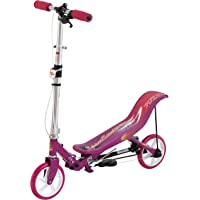 Space Scooter X580 Rosa Push Board Pump Action Kinderroller mit Handbremse, Luftfederung und Compact Faltbar.