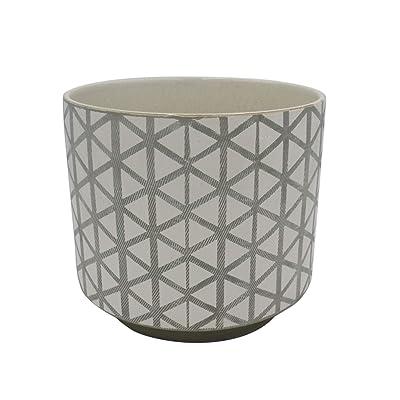 "Rivet Modern Lattice-Patterned Stoneware Planter, 6.3""H, Gray and White: Home & Kitchen"