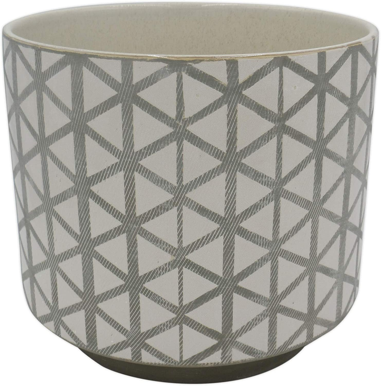 "Amazon Brand – Rivet Modern Lattice-Patterned Stoneware Planter, 6.3""H, Gray and White"