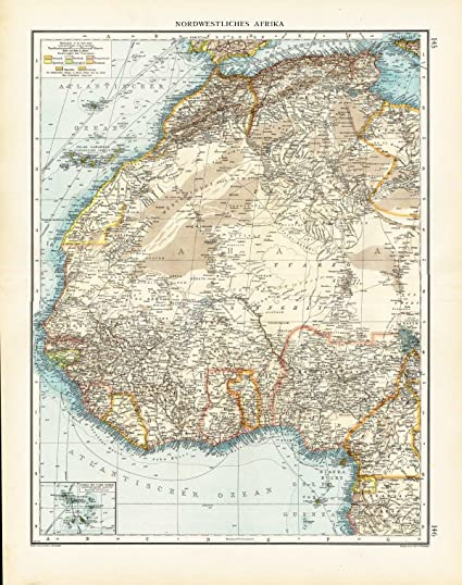 Amazon.com: Antique Map NORTH WEST AFRICA CAPE VERDE SAHARA Andree