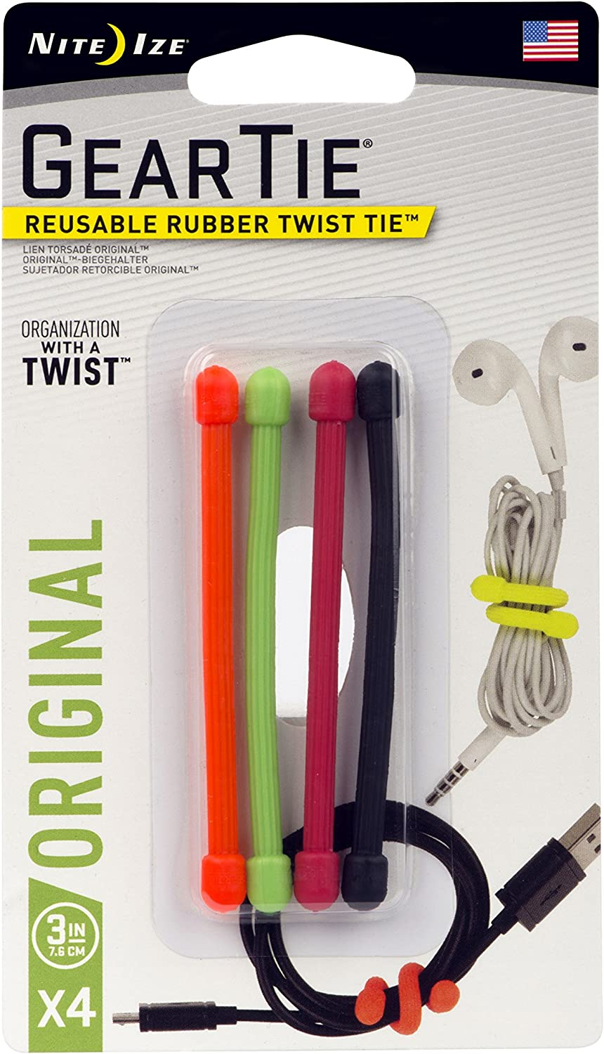 Nite Ize Gear Tie Square Assortment Reusable Rubber Twist Ties 3-Pack of 8
