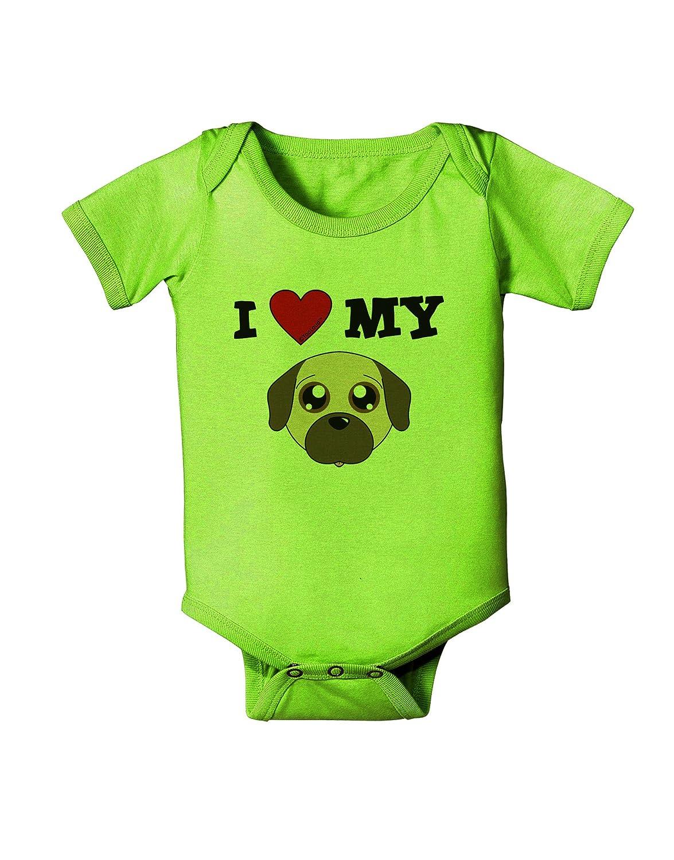 TooLoud I Heart My Cute Pug Dog Fawn Baby Romper Bodysuit
