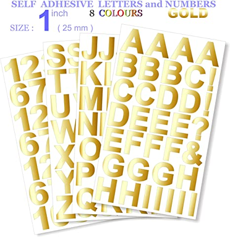 """STICKY SELF ADHESIVE VINYL LETTERS /& NUMBERS 1/"""" 26 COLOURS INCH"""