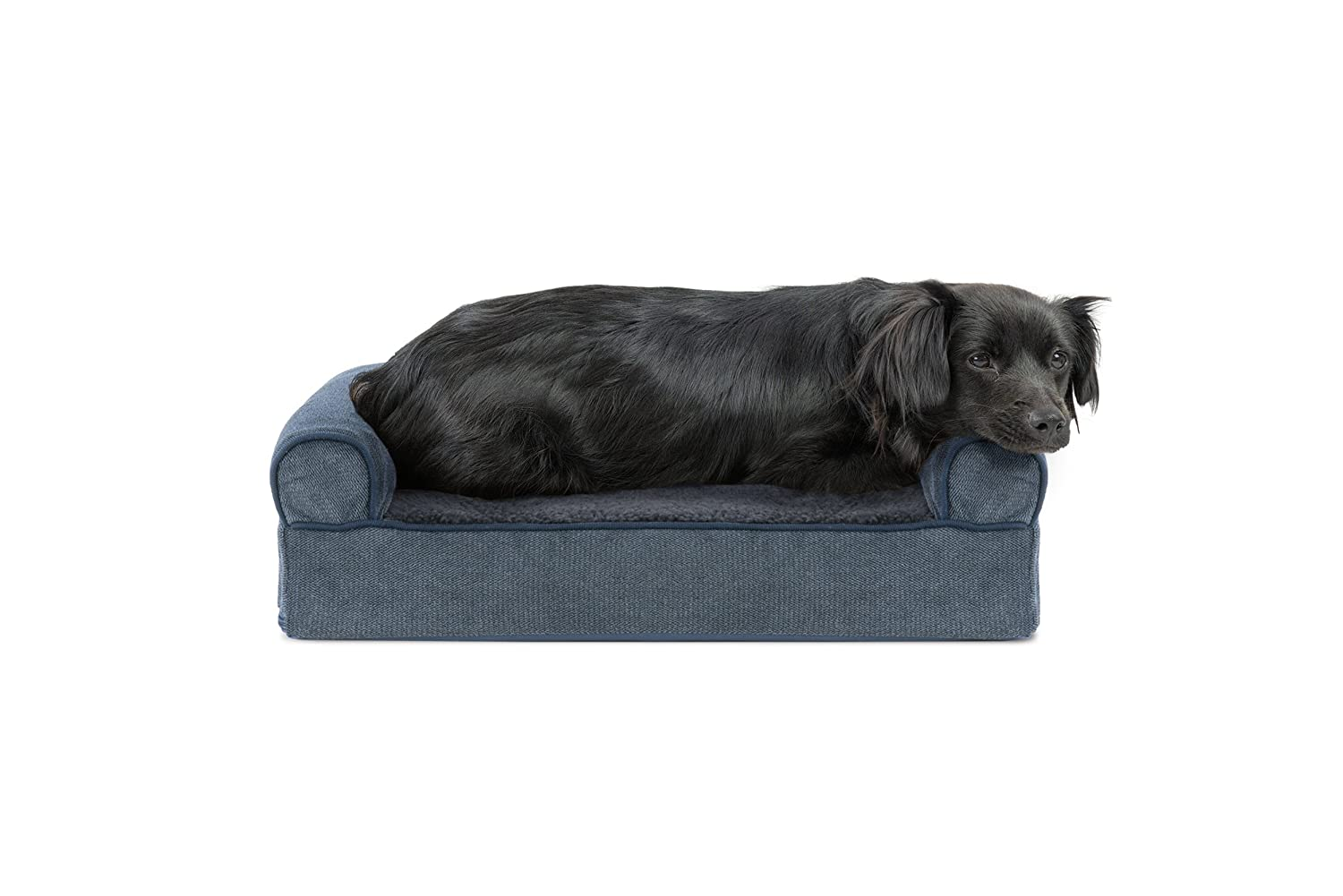 Orion bluee Small Orion bluee Small FurHaven Gel Foam Faux Fleece & Chenille Dog Couch Sofa Bed for Dogs and Cats, Orion bluee, Small
