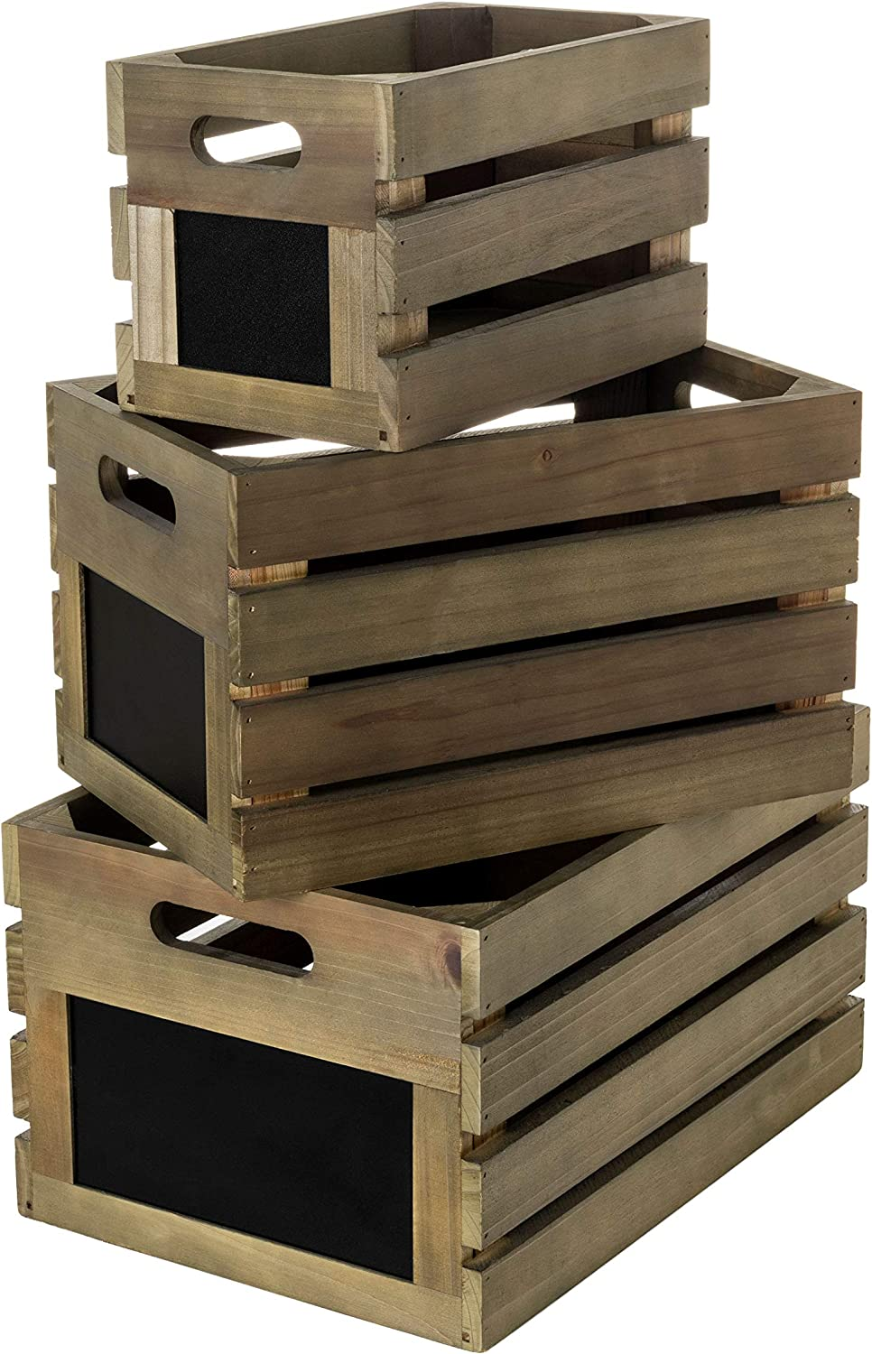 Strova Nesting Wood Crates with Chalkboard Display, Set of 3, Rustic Farmhouse Home Organization and Decor, Store Vinyl LP Records, Books, Supplies, and More