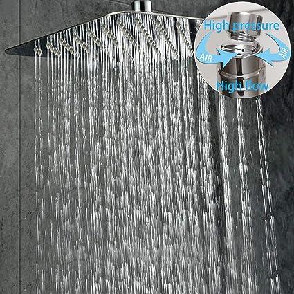 Colonne de Douche Encastr/é Noir Technologie dinjection dair avanc/ée Rainsworth 3 Fonctions Set de Douche Encastr/é Noirs T/ête de douche carr/ée 30 * 30 cm laiton et Acier Inoxydable