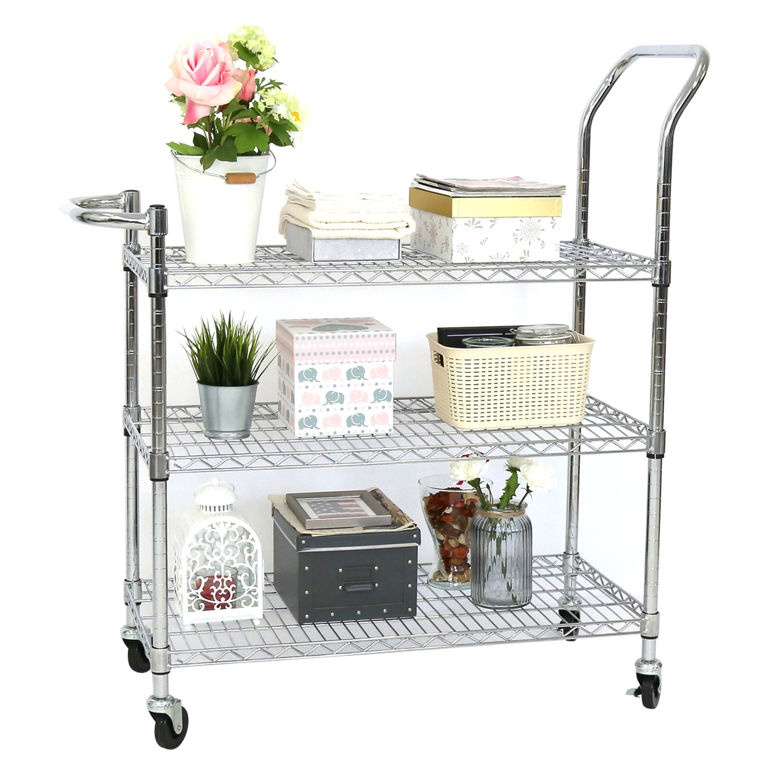 Kinbor 3 Tier Chrome Rolling Shelving Rack Metal Wire Cart Adjustable Shelf, w/Handles