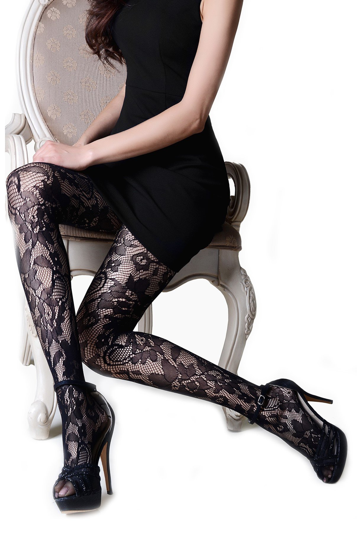 ICONOFLASH Women's Patterned Fishnet Stocking Tights (Regular, Loveland Floral)