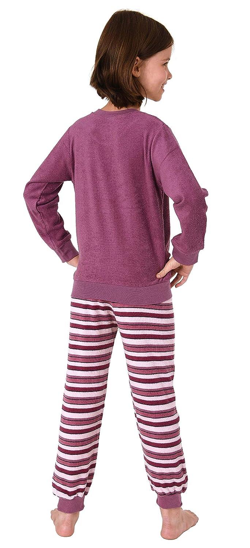 291 13 571 M/ädchen Frottee Pyjama Schlafanzug Langarm mit B/ündchen und Pferd als Motiv