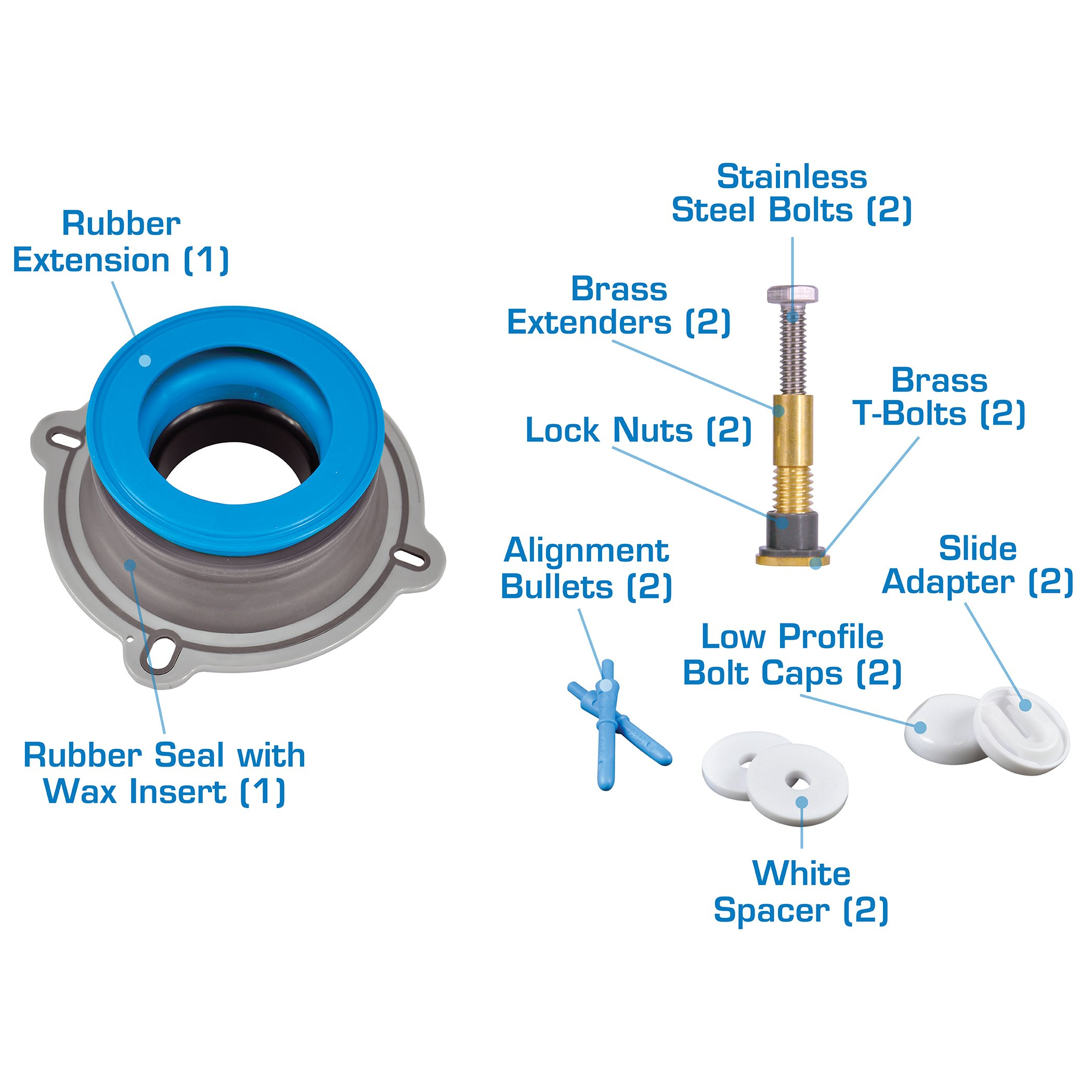 Danco 10879X All-in-One Installation Kit with Perfect Seal Toilet Wax Ring & Zero Cut Bolts, Blue and Gray, 1-Pack by Danco (Image #4)