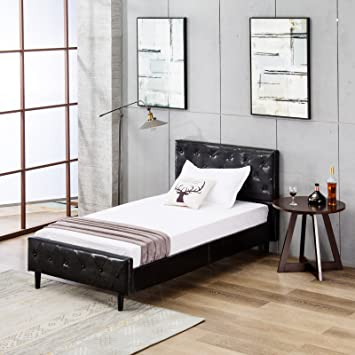 b39c544c64146 Amazon.com  Mecor Upholstered Faux Leather Platform Bed with Solid ...