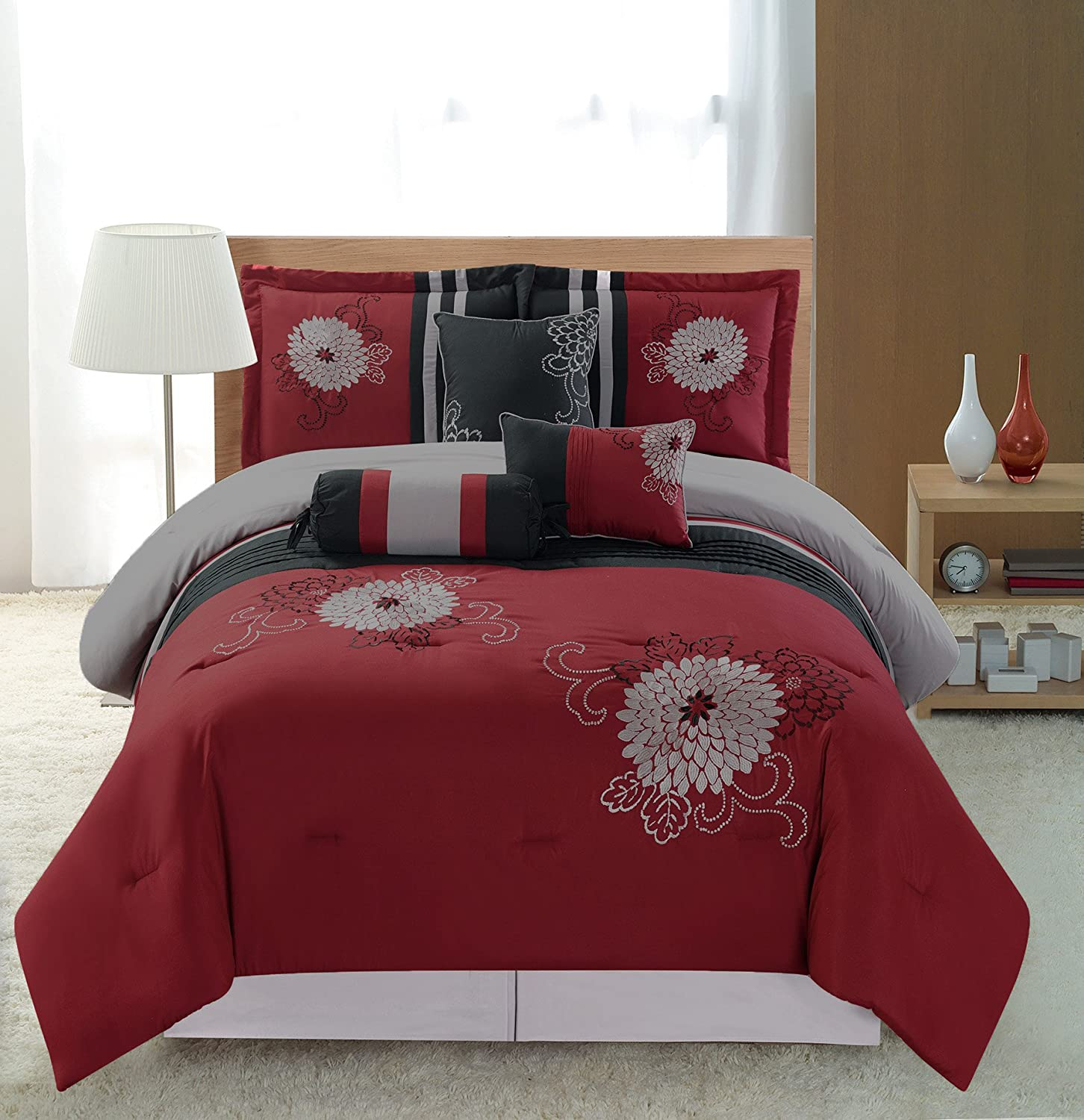 7-pc Embroidery Bedding Red Black Grey Comforter Set Shamz Red Queen