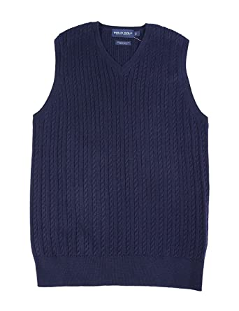 Polo Ralph Lauren Cable Knit V-Neck Golf Sweater Vest Navy Blue Small S