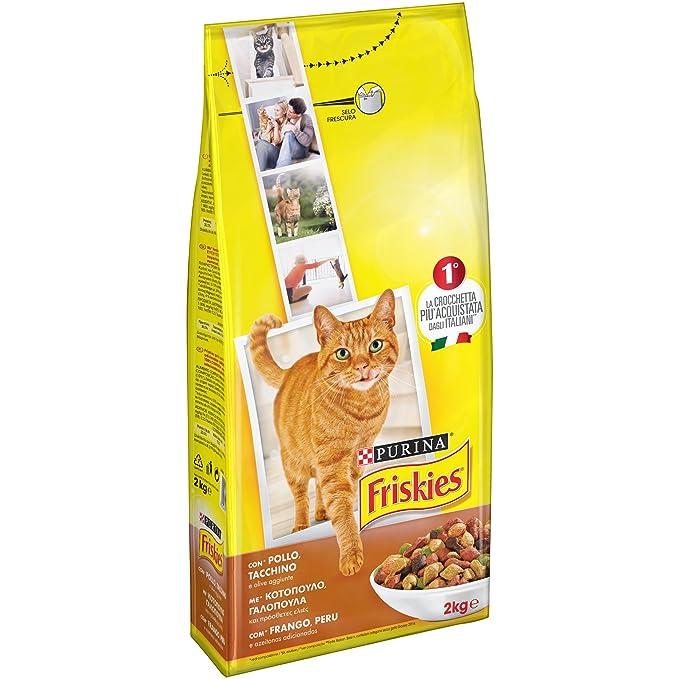 Friskies Adult pienso para el Gato, con Pollo, Pavo y Aceitunas aggiunte, 2 kg: Amazon.es: Alimentación y bebidas