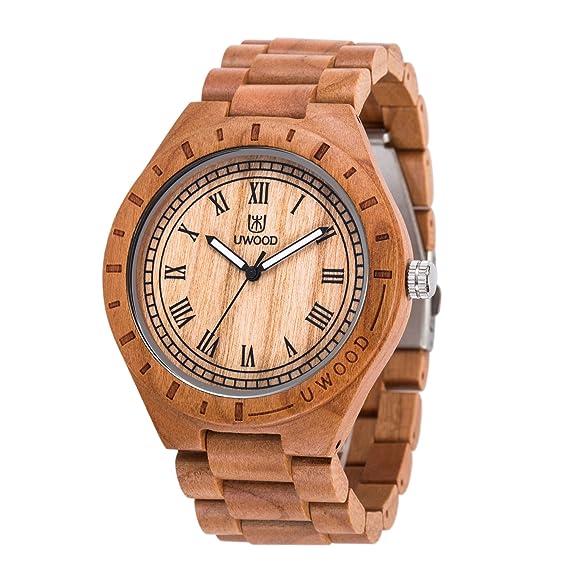 uwood material de madera de cerezo reloj de madera hombre Vintage clásica de madera reloj(