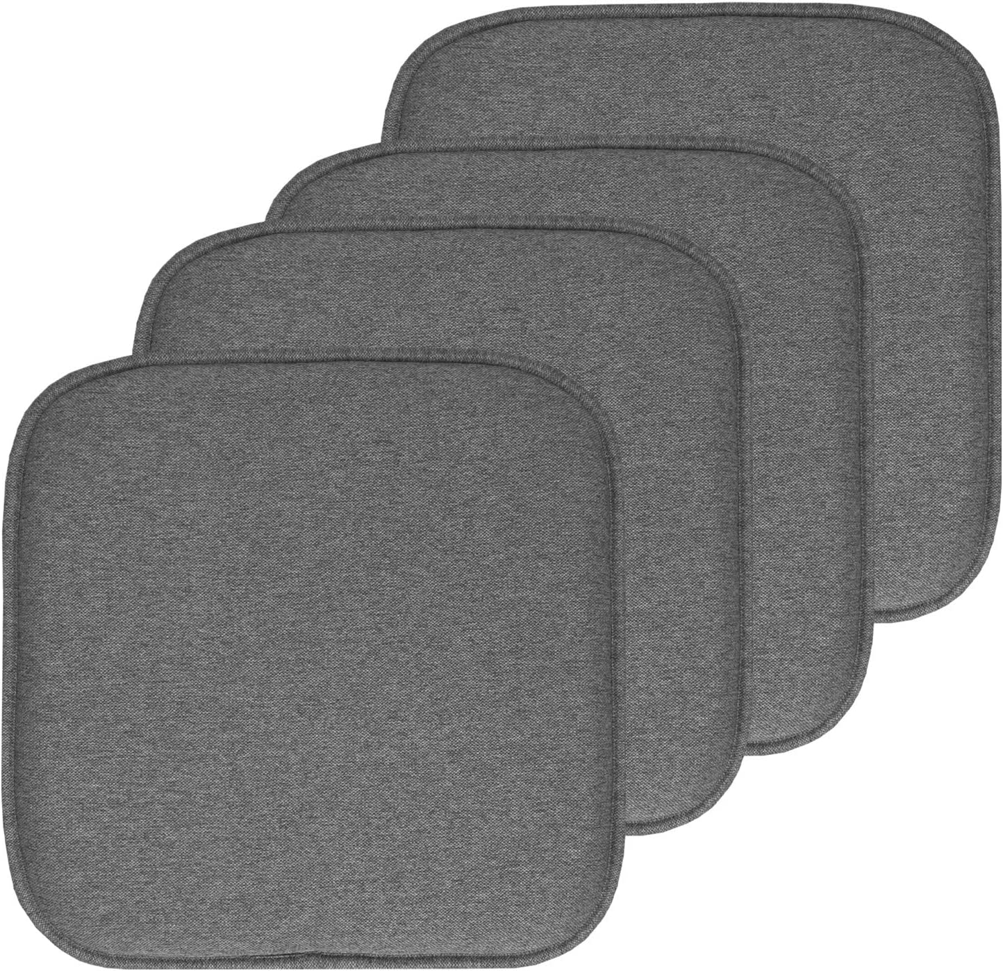 "Sweet Home Collection Chair Cushion Memory Foam Pads Honeycomb Pattern Slip Non Skid Rubber Back Rounded Square 16"" x 16"" Seat Cover, 4 Pack, Charlotte Gray"