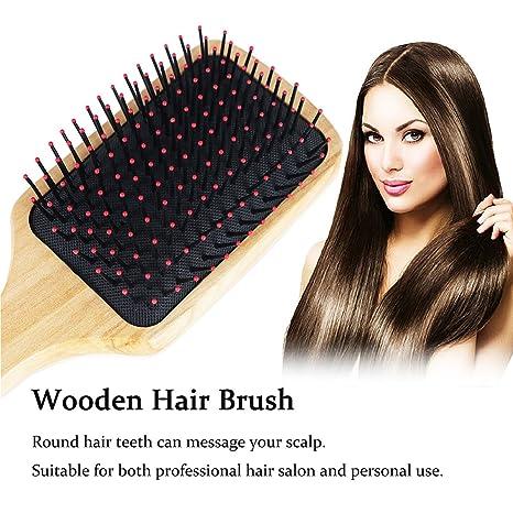 Cepillo de pelo, Natural de madera Paddle desenredante cepillo Peine - Cepillo acolchado ovalado para las mujeres y hombres, ajuste perfecto de para todo ...