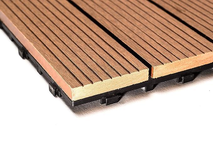 SAM® Mattonelle in WPC ad incastro per terrazzo, set di 11 pezzi di ...