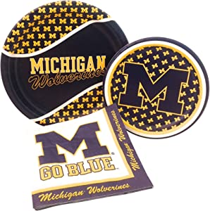 University of Michigan Wolverines Party Supply Pack! Bundle Includes Paper Plates & Napkins for 8 Guests
