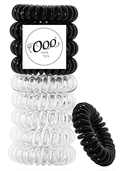 10 pack Painless PATENTED OOO Hair Ties. Ponytail holder spiral coil  traceless gentle rubber bands 61ca688fb35