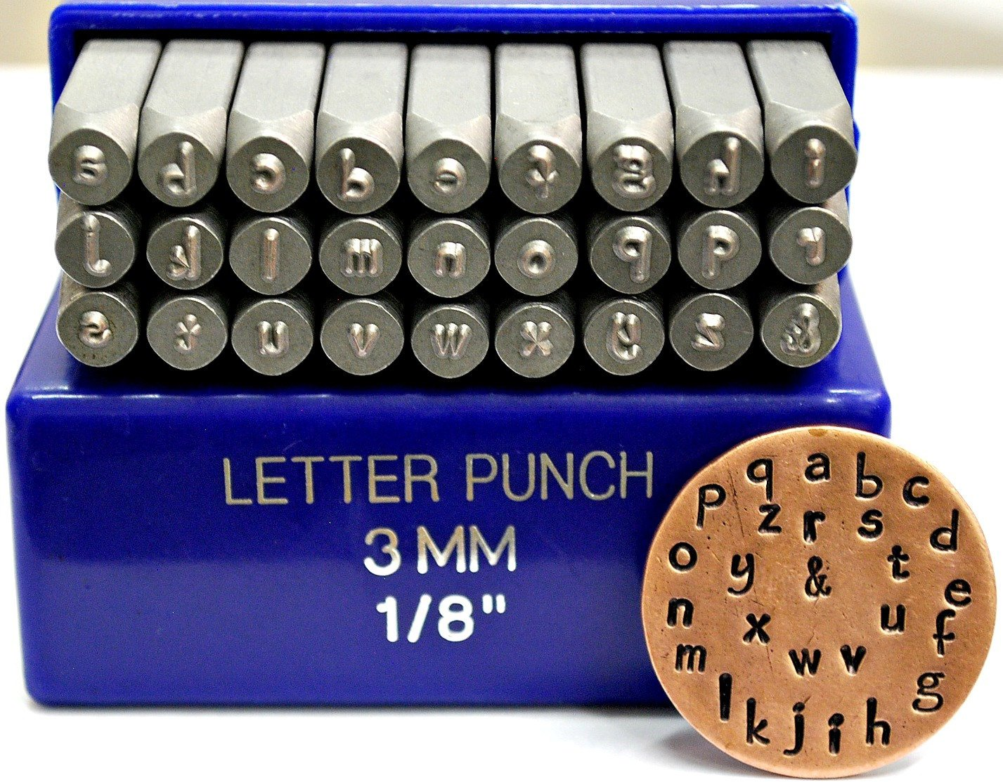 3mm Papyrus Font Alphabet Punch Letter Set, 27 Pieces Including &, Available in Uppercase, Lowercase or a Combination Set (Lowercase SGE15L)