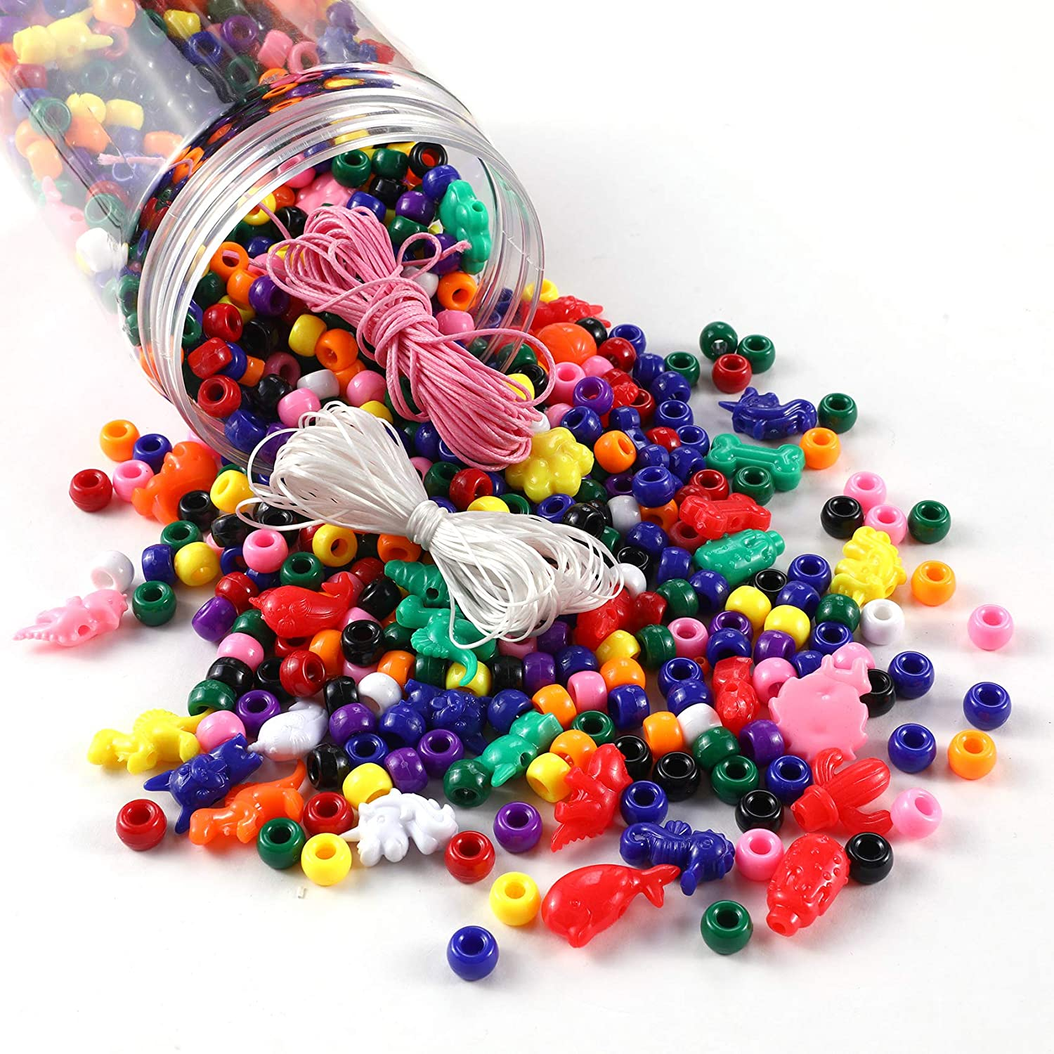 Miss Rabbit 900pcs 9mm Pony Beads Bucket, Bulk Rainbow Plastic Beads, with Large Animal Beads, Wax Cord and Elastic Cord Come with Bucket, for Hair Braids, Kids Jewelry Bracelet Necklace Making