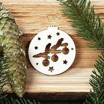 Gut Baumkugeln Mit Weihnachtsmotiven   Baumschmuck, Baumbehang   Deko Aus Holz,  Weihnachtsschmuck:Mistelzweig Mit