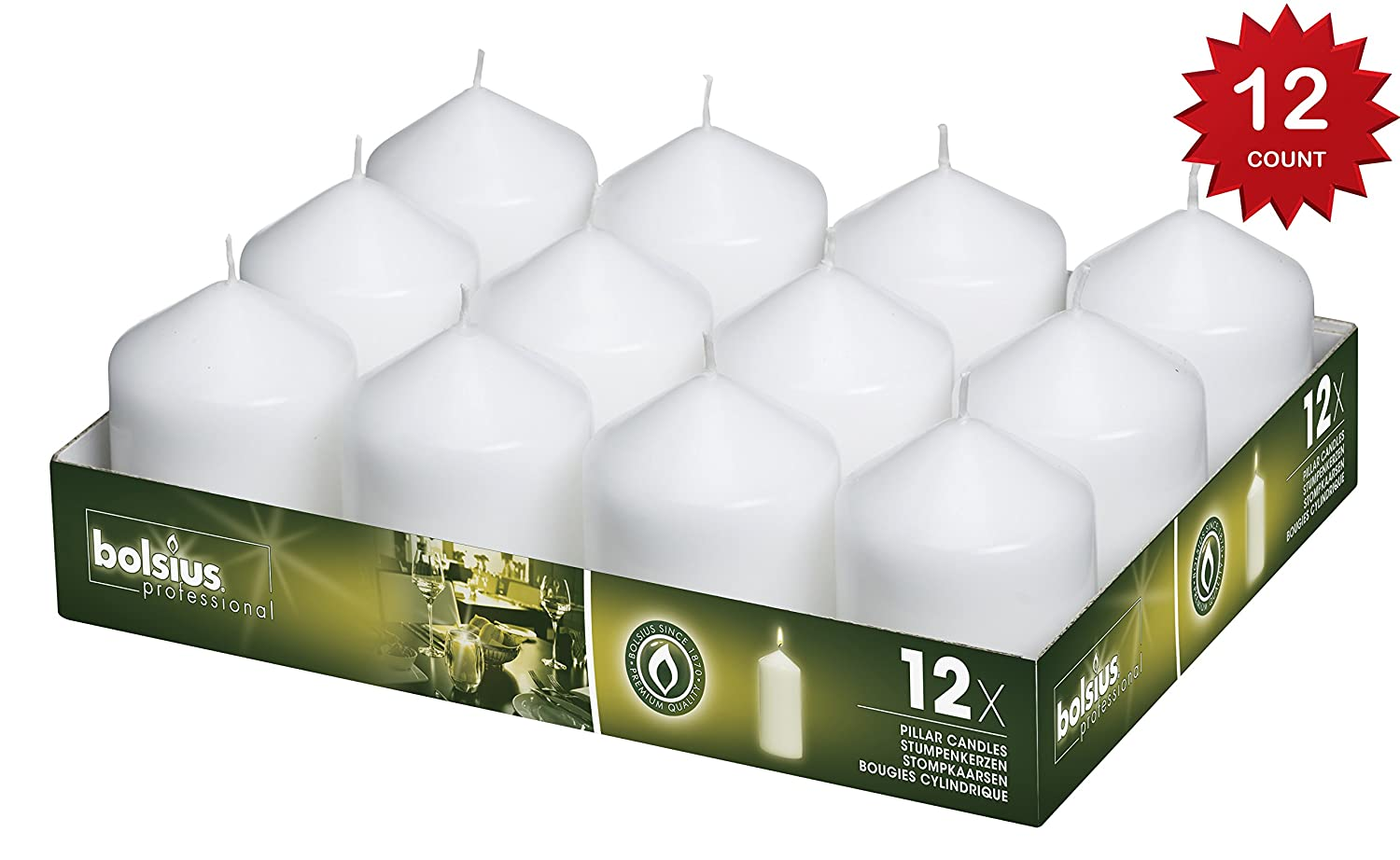 Bolsius Tray of 12 White Pillar Candles 78 x 58 mm (aprox 3 x 2.3 inch)