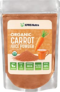XPRS Nutra Organic Carrot Juice Powder - Pure Carrot Powder Organic from The USA - Ideal for Juice and Smoothie - High in Vitamin A, Phytonutrients and Antioxidants - USDA Organic and Non-GMO (8 oz)