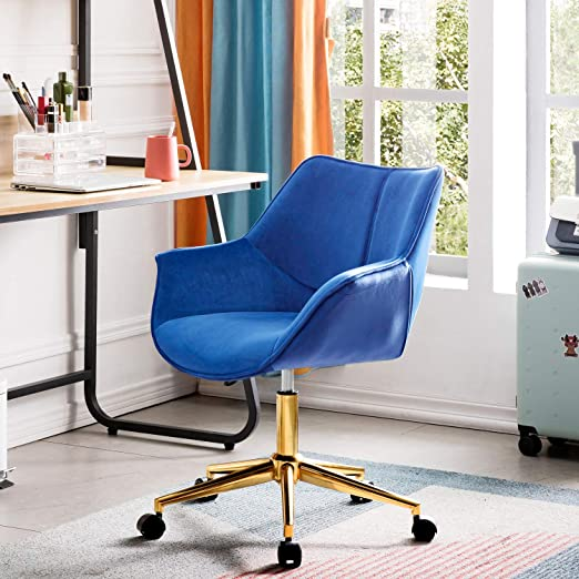 Amazon Com Ovios Office Chair Computer Chair For Home Office Or Conference Swivel Desk Chair With Golden Base And Arms Velvet Blue Kitchen Dining