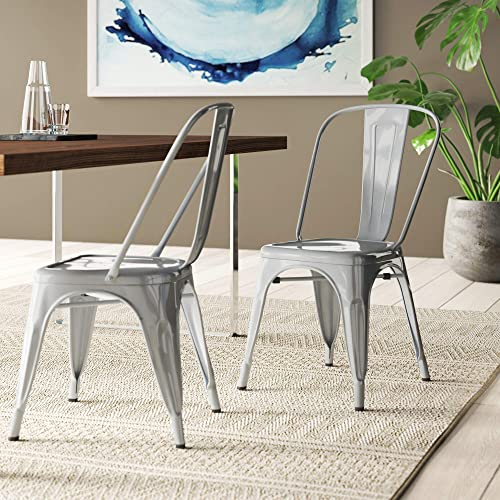 BELLEZE Set of 4 Industrial Style Chairs w/ Backrest Kitchen Bistro Cafe Chair Side Stack-able Vintage