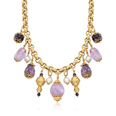fdb9df3f02e7f Ross-Simons Italian Amethyst and Cultured Pearl Necklace in 18kt Gold Over  Sterling