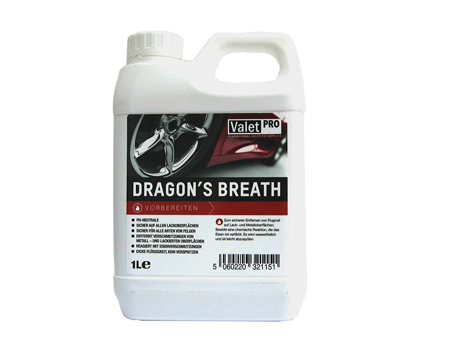 1 x ValetPro Dragon's Breath wheel cleaner 1 L / safe for rim surfaces / removes brake dust and other dirt / care / rim care / cleaning / canister / 500 ml / cleaning power / wheel cleaner / detailing / ValetPro / Made in England / detailing / rims / alloy