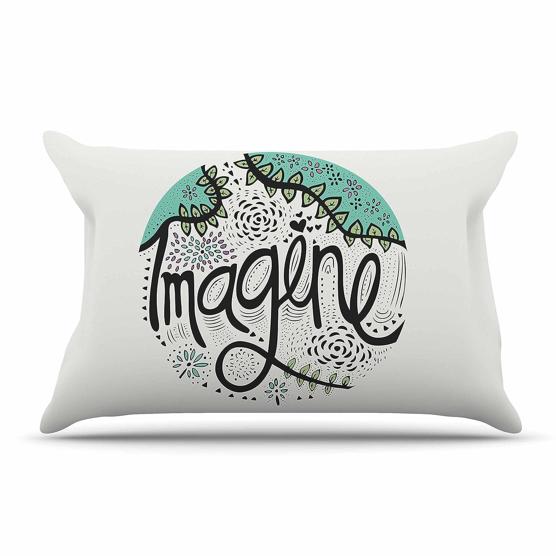 Kess InHouse Pom Graphic Design Imagine Teal Black Nature Typography 30 x 20 Pillow Sham