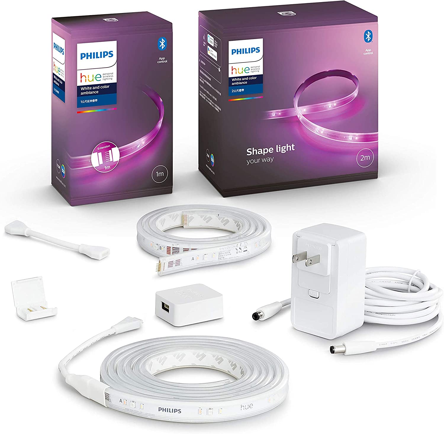 Philips Hue 555326 Phlips Hue BLE Lightstrip LED Light strip, 1m / 3 ft Extension, White w/Hue 555334 BLE Lightstrip LED Light strip, 2m / 6ft Base Kit, White