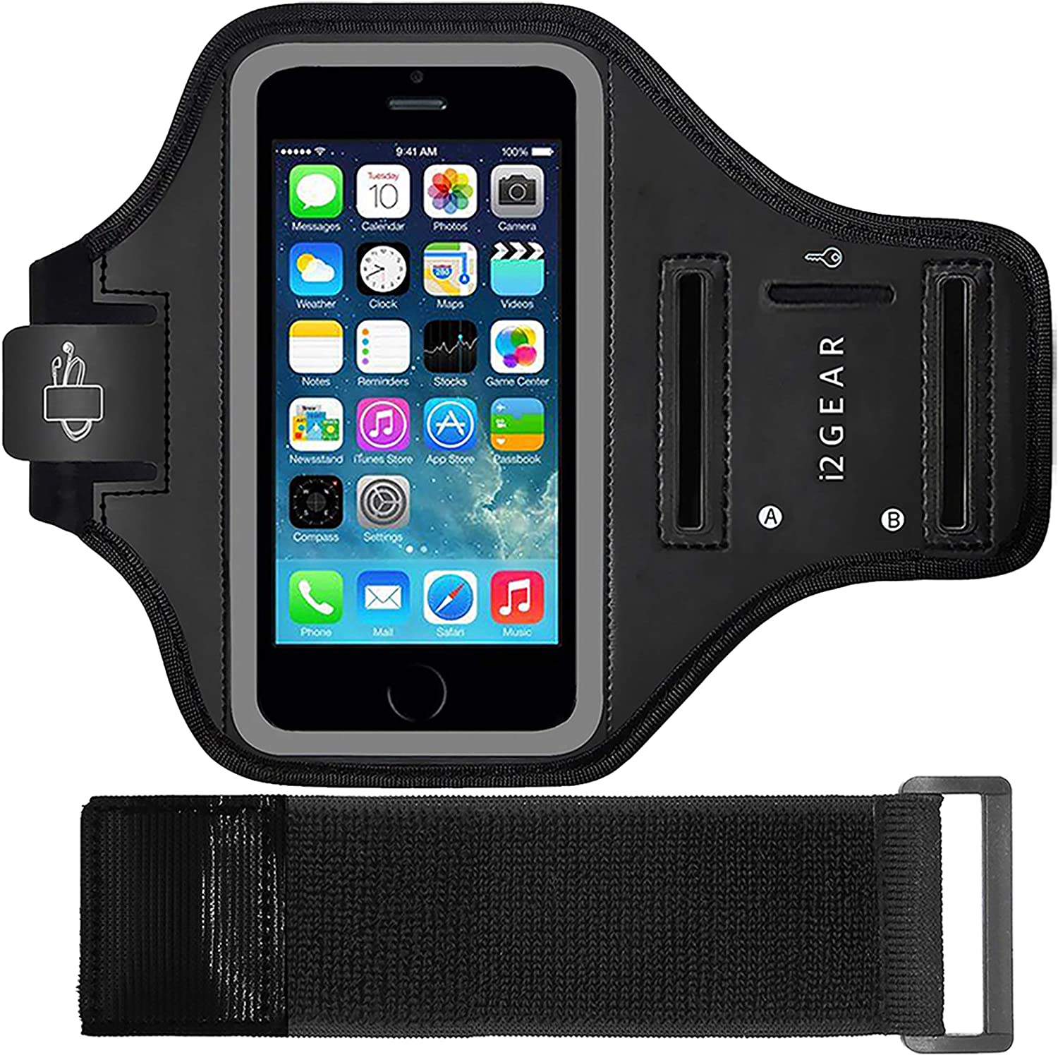 i2 Gear Armband for iPhone 5, 5s, 5C, SE & iPod Touch 7th, 6th, 5th Generation with Key Holder & Elastic Strap Extender