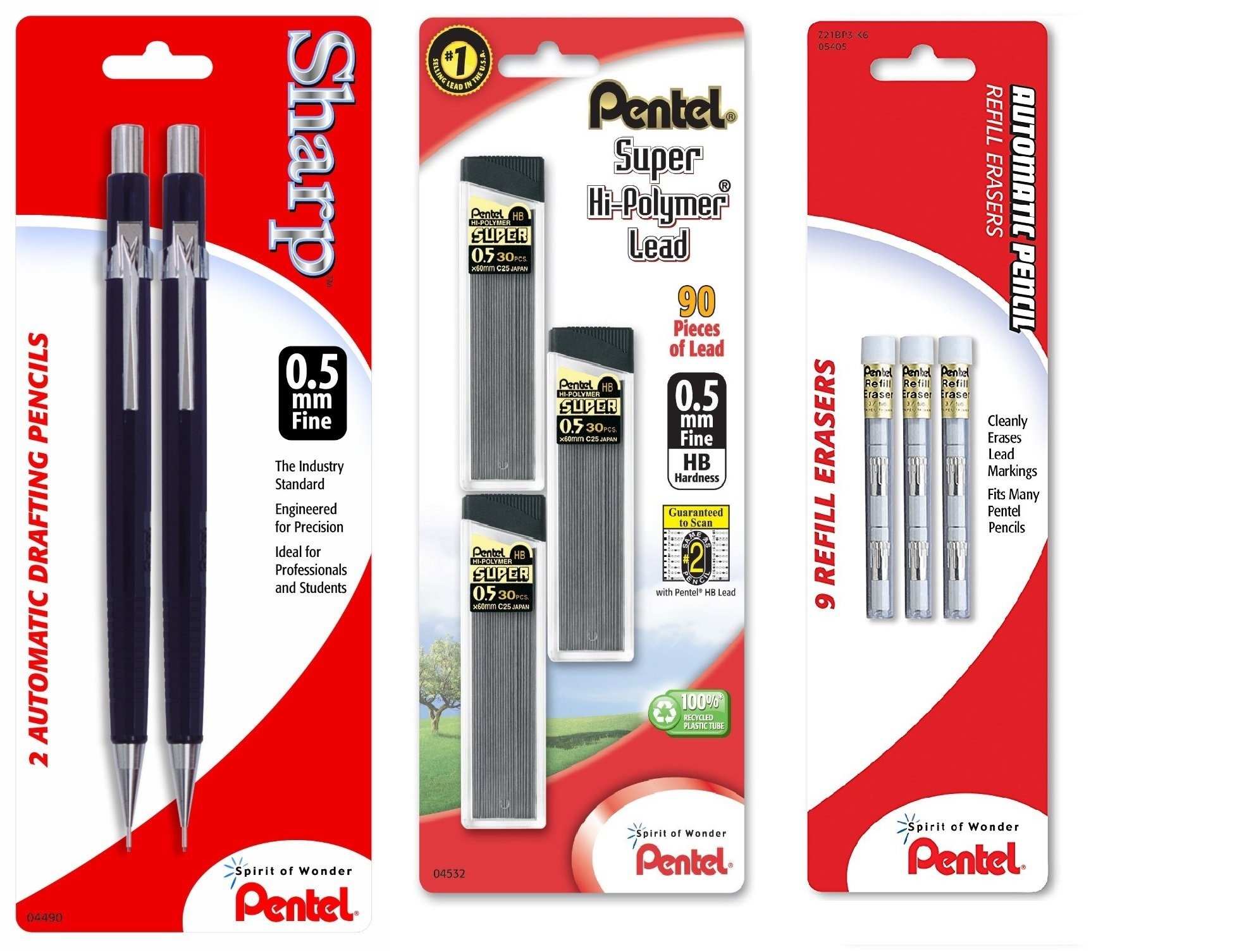 Pentel Sharp Automatic Pencil, 0.5mm, Black Barrels, 2 Pack, with 0.5mm Lead Refill and Z21 Eraser Refill (Bundle)