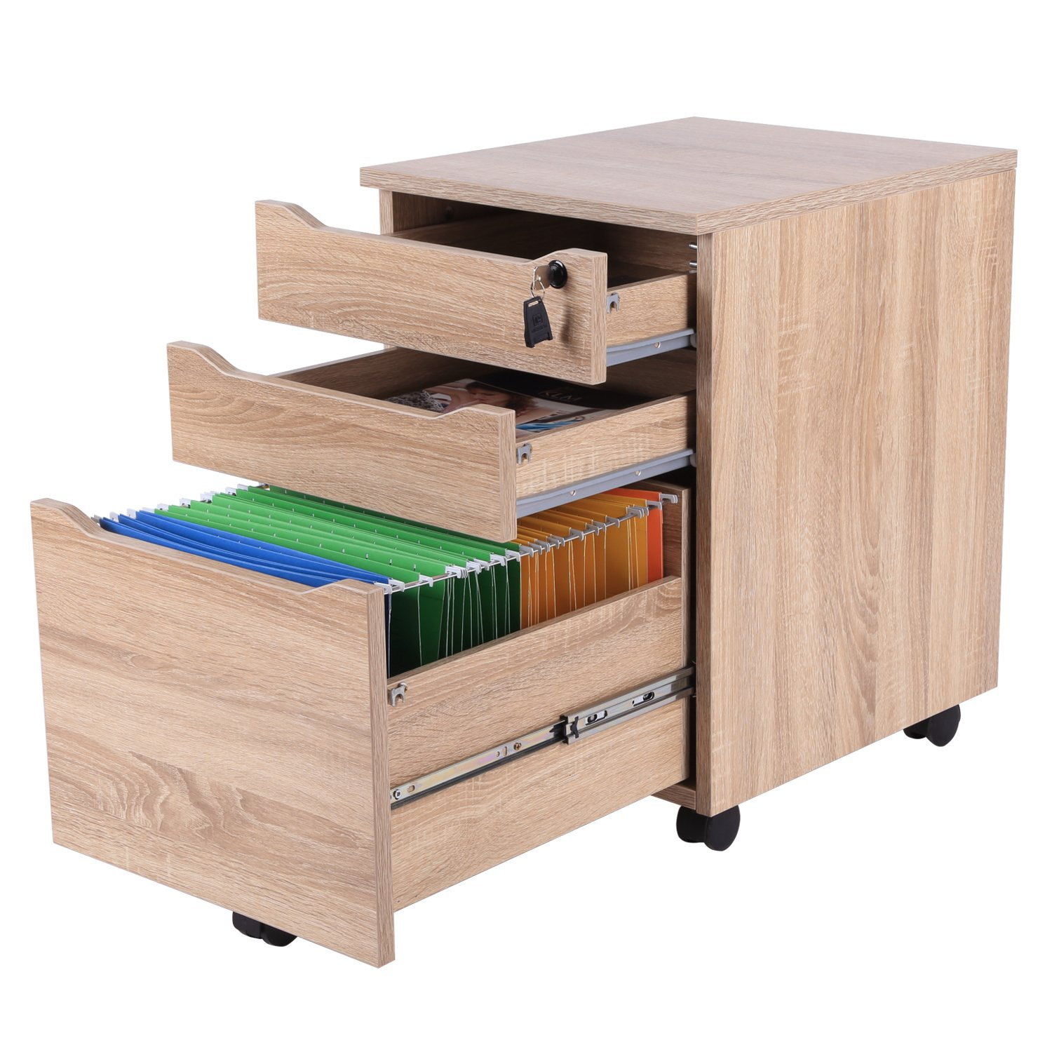 Decho 3 Drawer Wood Mobile File Cabinet Fully Assembled Except Casters,Letter Size/A4,OAK