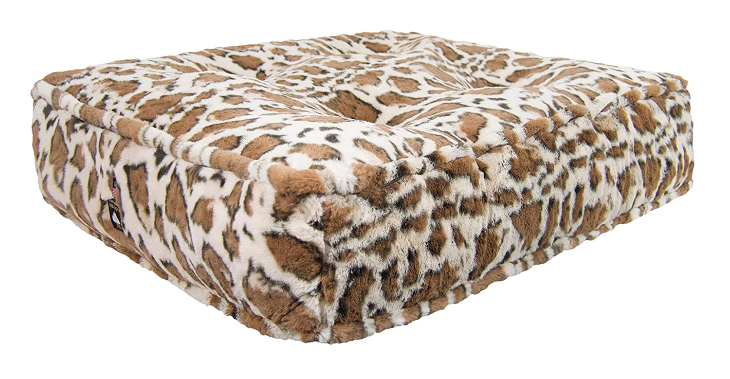 L  46\ BESSIE AND BARNIE Giraffe Extra Plush Faux Fur Sicilian Rectangle Pet Dog Bed (Multiple Sizes)