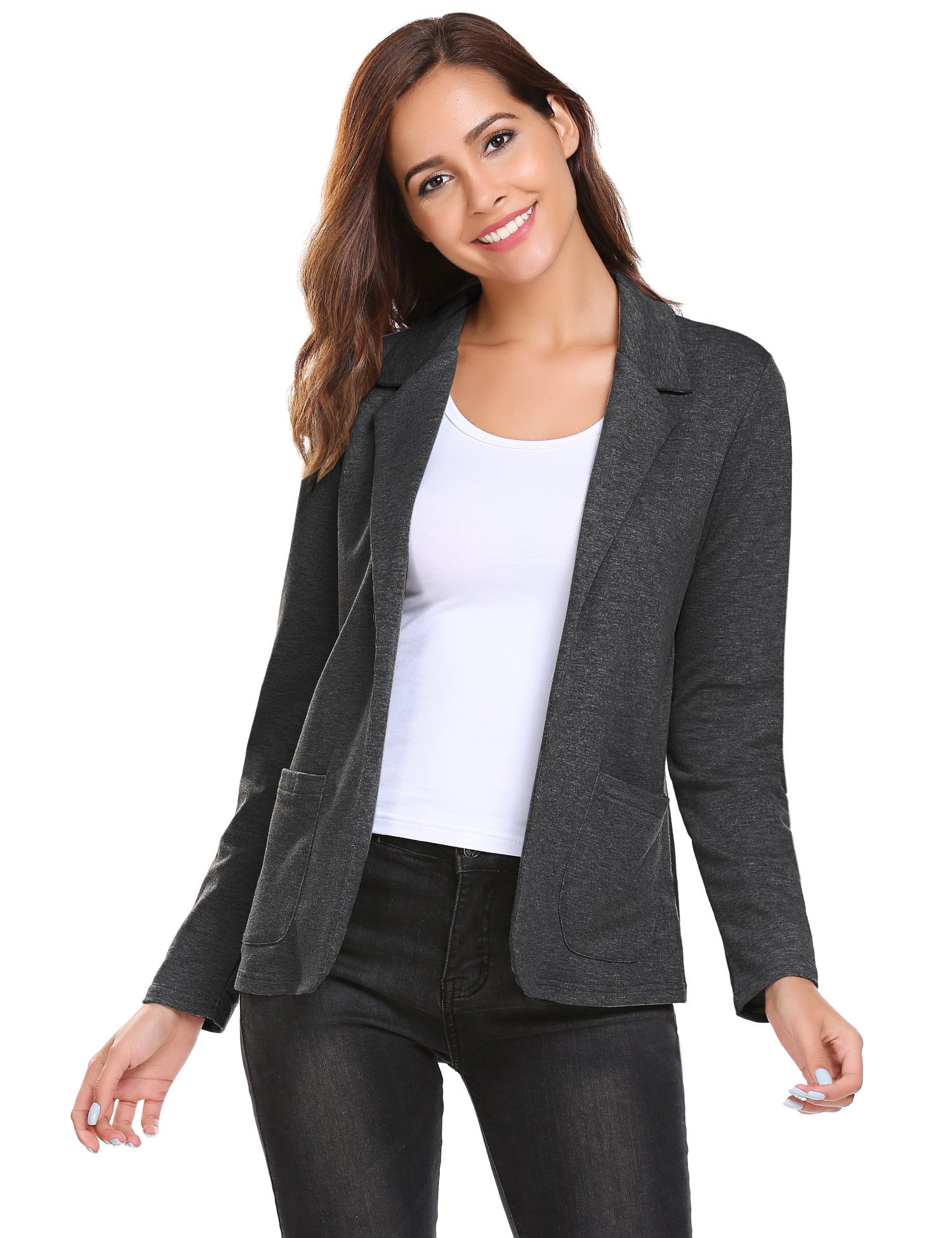 Zeagoo Blazer for Women Ladies Long Sleeves Jersey Cardigans Plus Size Cotton Jacket (Grey, M)