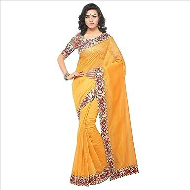 e0cdfcbcfa7 Softieons Ecommerce Women s Chanderi Cotton Saree with Blouse Piece (Lace  Saree) (SOFT 246 VAR)