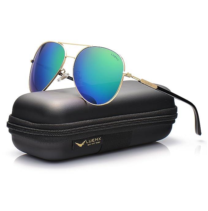 LUENX Hombre gafas de sol Aviador polarizado con estuche - UV 400 Espejo de Protección Verde