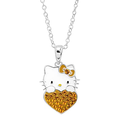 e5901c10b Image Unavailable. Image not available for. Color: Finecraft Girl's Hello  Kitty November Heart Pendant Necklace ...
